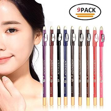 Okdeals 9 Pcs/Set Eye Brow Pencil Cosmetics With Sharpener Lid, Waterproof Eyeliner Pen, Longlasting Makeup Liner Pen Lip Liner with Different Colors for Women and Girls