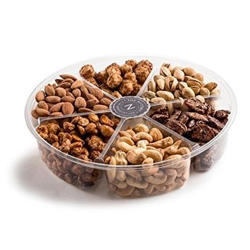 The Nuttery Deluxe Roasted Nuts Gift Basket, 6-Section Holiday Gift Assortment