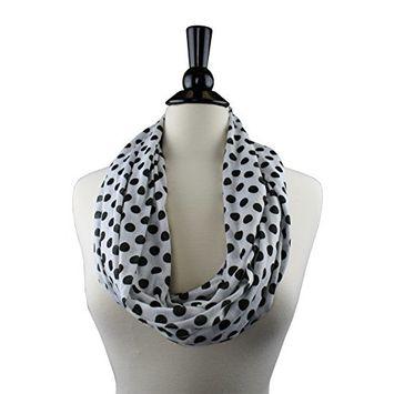 Polka Dot Infinity Scarf for Women with Zipper Storage Pocket - Pop Fashion (Navy)