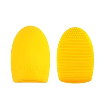 Makeup Brush Cleaner Cleaning Glove Brush Egg Cosmetic Washing Tools Silicone Brush Scrubber Board (Yellow)