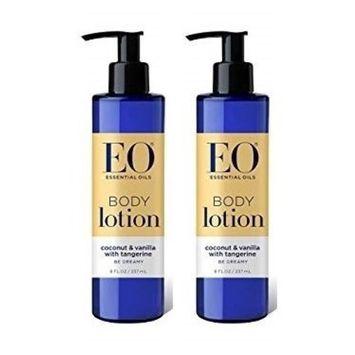 EO Body Lotion Coconut Vanilla (Pack of 2) With Jojoba, Grapefruit, Orange, Lemon, Tangerine, Vanilla, Aloe, Chamomile, Calendula, Mango, Rice Protein, Sesame and Coconut, 8 fl. oz. Each
