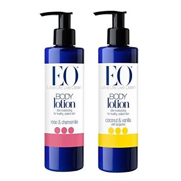 EO Botanical Rose and Chamomile Body Lotion and EO Botanical Coconut, Vanilla and Tangerine Body Lotion Bundle With Jojoba and Sesame Oils, Oat Betaglucan, Mango Seed Butter and Olive Wax, 8 oz each