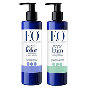 EO Botanical French Lavender Body Lotion and EO Botanical Grapefruit and Mint Body Lotion Bundle With Lavender, Grapefruit, Orange and Peppermint Essential Oils and Jojoba and Olive Oils, 8 oz each