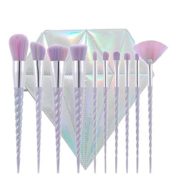 Green Beauty Mall Unicorn Thread Make Up Brushes Set Face Concealer Foundatio Eyeshadow