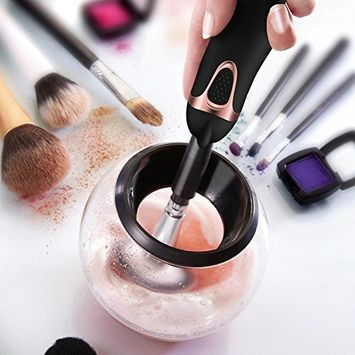 Makeup Brush Cleaner and Dryer Machine, Clean in Seconds and Dry in 360 Rotation with 8 Rubber Holders Suit for All Size Makeup Brushes