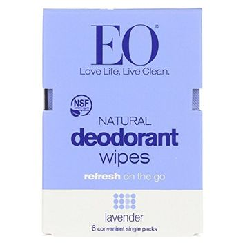 EO Deodorant Lavender Wipes, 6 Count