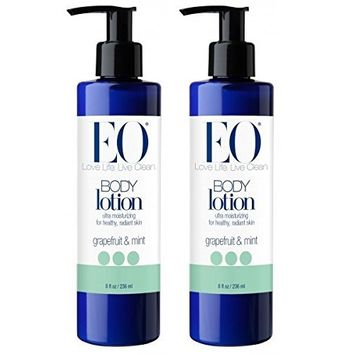 EO Grapefruit & Mint Body Lotion (Pack of 2) with Jojoba Seed Oil, Grapefruit Peel Oil, Aloe Vera, Matricaria Flower Extract, Calendula Flower Extract and Mango Seed Butter, 8 oz