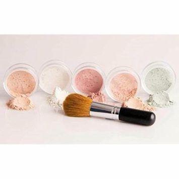 5 pc KIT w/ FACE BRUSH Mineral Makeup Foundation Set Full Size Sheer Powder Bare Face Cover (Light)