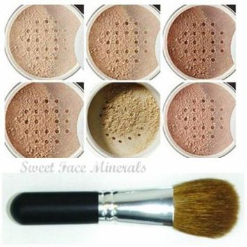 XXL KIT with BRUSH Full Size Mineral Makeup Set Bare Skin Powder Foundation Cover by Sweet Face Minerals (Fair Shade 2)