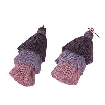 DZT1968 Women girl 9X2.5cm ThreeColor Bohemia Hook Fringe Dangle Drop Earrings