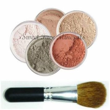 5 pc. KIT w/ FACE BRUSH Mineral Makeup Set Full Size Powder Bare Skin Foundation (Deep Tan)