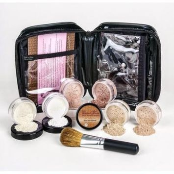 XXL KIT with BRUSH & CASE Full Size Mineral Makeup Set Bare Skin Powder Foundation Cover (Deep Tan)