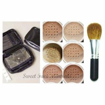 XXL KIT w/ BRUSH & CASE Full Size Mineral Makeup Set Bare Skin Powder Foundation Cover by Sweet Face Minerals (Light)