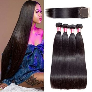 Brazilian Straight Hair Bundles With Closure 12 14 16 18 with 10 Closure Virgin Human Hair Weave Extensions
