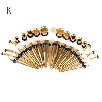 DZT1968 Women Multi 36PC Ear Gauge Expand Acrylic Stainless Steel Ear Canal Piercing