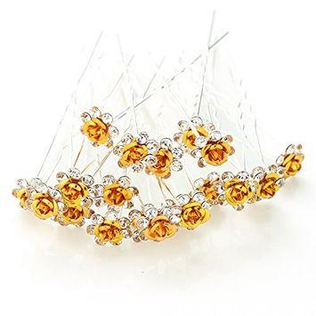 MISM Bridal Girls Rhinstone Hair Pins Women 20 Pack U-sharped Flower Wedding Decorative Hair Accessories