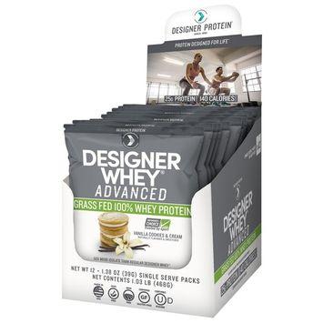 Designer Protein, Designer Whey Advanced, Grass Fed 100% Whey Protein, Vanilla Cookies & Cream, 12 Packs, 1.38 oz (39 g) Each [Flavor : Vanilla Cookies & Cream]