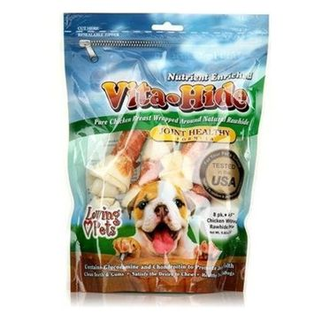 Loving Pets Rawhide Vita Hide Joint W/ Chicken Pack Lv Rh Vita Joint Chx 6-7' 4Pk Treats & Chews