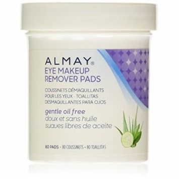 Almay Oil-Free Eye Makeup Remover Pads, 80 Counts (Pack of 10)