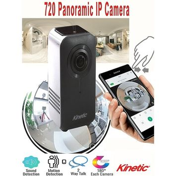 Kinetic Brand Revolutionary Streaming HD Video 720 Dual Lens Panoramic Cam Infrared Sensor Night Vision Low Light Capture Dual Lens Technology VR Mode Use for Home Office Elderly Family Pets (White)