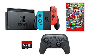 Nintendo Switch 4 items Bundle: Nintendo Switch 32GB Console Neon Red and Blue Joy-con,64GB Micro SD Memory Card and an Extra Nintendo Switch Pro Wireless Controller, Super Mario Odyssey