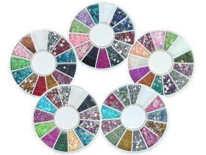 Bundle Monster 5 Nail Art Manicure Wheels W 3D Designs Glitters Rhinestones Beads