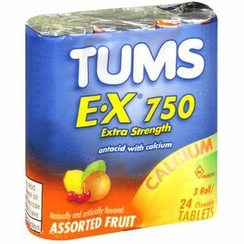 Tums E-X 750 Assorted Fruit Antacid/Calcium Supplement