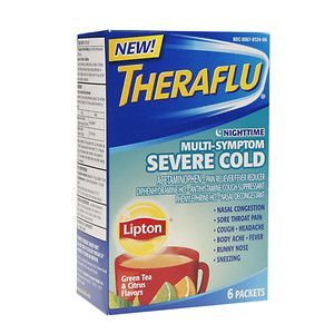 TheraFlu Nighttime Multi Symptom Severe Cold, Lipton Green Tea & Citrus Flavors, 6 ea