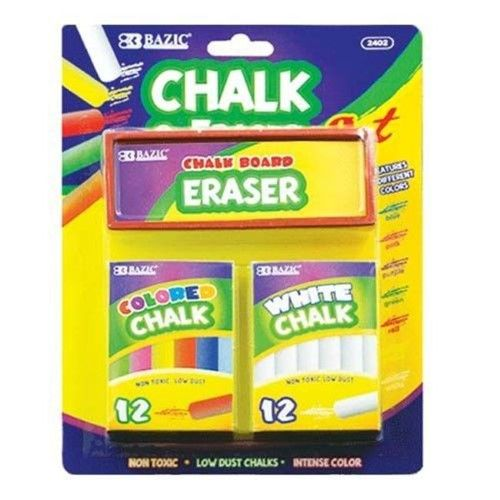 Deluxe Import Trading Deluxe Import 104-2402 12 Color and 12 White Chalk with Eraser Sets - 48 Packs