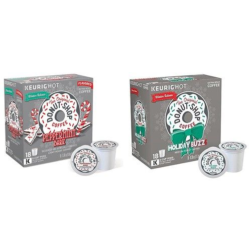The Original Donut Shop Coffee Holiday Buzz and Peppermint Bark K-Cups Holiday Variety (2x18 Count Boxes)