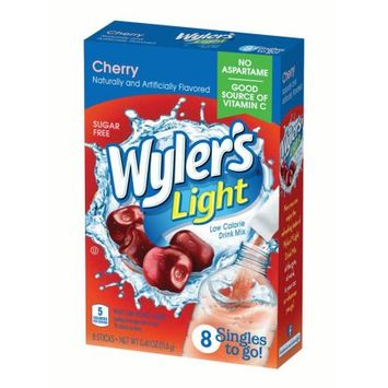 Jel Sert Wyler's Light Singles To Go! Sugar Free Drink Mix, Cherry, 0.41 Oz, 8 Count Box, Pack of 12