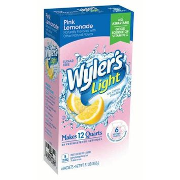 Jel Sert Wyler's Light Pitcher Packs! Drink Mix, Pink Lemonade, 3.1 Oz, 6 Count Box, Pack of 8