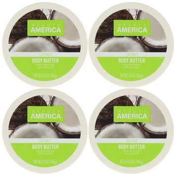 Beauty America Intense Moisturizing Body Butter With Coconut Oil, 4 pack [Coconut]