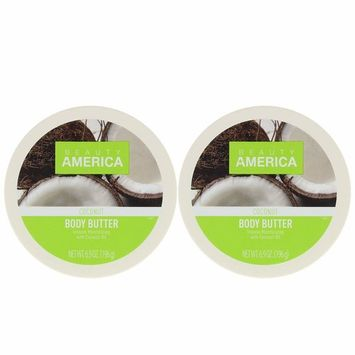 Beauty America Intense Moisturizing Body Butter With Coconut Oil, 2 pack [Coconut]