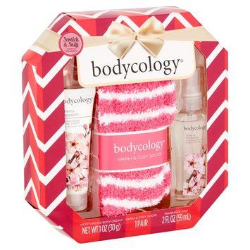 Bodycology Cherry Blossom Body Cream, Fragrance Mist and Warm Socks Gift Set, 3 pcs