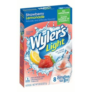 Jel Sert Wyler's Light Singles To Go! Sugar Free Drink Mix, Strawberry Lemonade, 0.80 Oz, 8 Count Box, Pack of 12