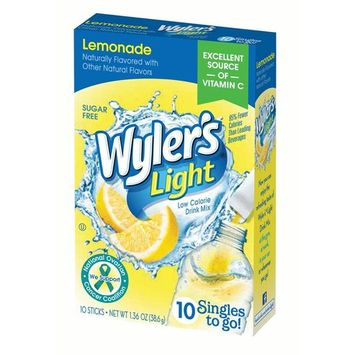 Wyler's Light Singles To-Go Drink Mix, Lemonade, 1.36 Oz, 10 Packets, 1 Count