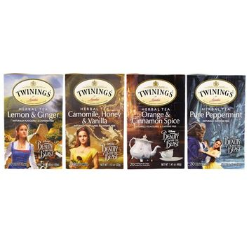 Twinings, Herbal Tea Variety Pack, Special Edition, Beauty and the Beast, 4 Boxes, 20 Tea Bags Each [Flavor : Beauty and the Beast Variety Pack]