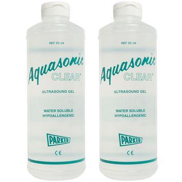Aquasonic Clear Ultrasound Gel - 1 Liter Bottle - Pack of 2