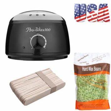 iMeshbean Wax Warmer Heater Pot Machine + 100g Waxing Beans + 50pcs Hair Removal Sticks, Heat Pot + 100g Green Tea