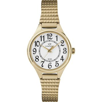 Timex - Viewpoint by Timex Women's 30mm Gold-Tone/White Expansion Band Watch [name: actual_color value: actual_color-gold-tone/white]
