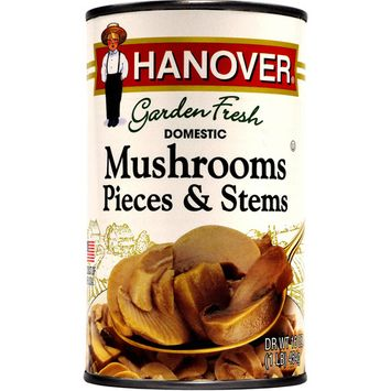 Hanover Domestic Mushrooms Pieces & Stems, 16 Oz