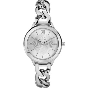 Timex - Women's 34mm Silver-Tone Dial Watch, Silver-Tone Bracelet