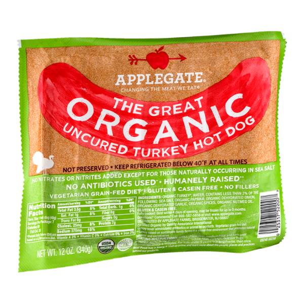 Applegate The Great Organic Uncured Turkey Hot Dog - 7 CT