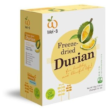 Wel-b Freeze Dried Durian for Healthy and Blissful Life All Natural 0% Fat 1.06oz.(30g.)
