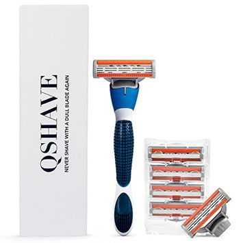 QSHAVE Blue Series Manual Men's Shaving Razor with X3 Blade (3-Blade) Replacement Cartridges/Refills