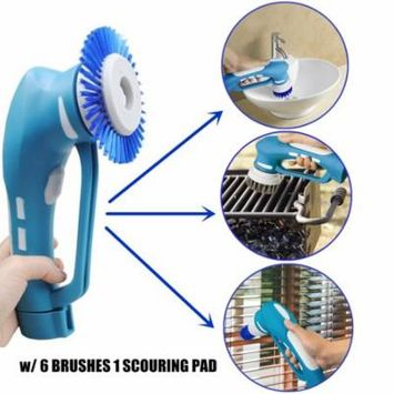 Bathroom Kitchen Cordless Power Scrubber with Rechargeable Battery w/ 6 Brushes 1 Scouring Pad
