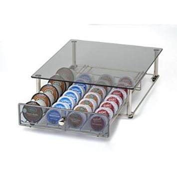 NIFTY KB6595 Glass Top Storage Drawer for Keurig 2.0, Chrome