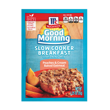 McCormick® Good Morning Peaches and Cream Oatmeal Slow Cooker Breakfast Seasoning Mix