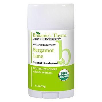 Organic Natural Deodorant - USDA Certified Organic, Certified Gluten Free, Vegan, Cruelty Free for Men & Women (Bergamot Lime)